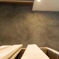 идея необычной декоративной штукатурки в интерьере спальни под бетон фото