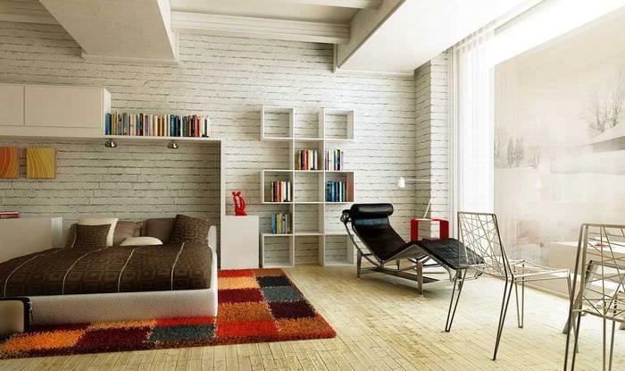 вариант яркой декоративной штукатурки в дизайне гостиной