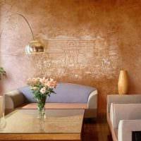 вариант яркой декоративной штукатурки в интерьере квартиры картинка