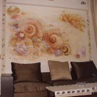 идея современного интерьера квартиры с декоративным рисунком на стене фото