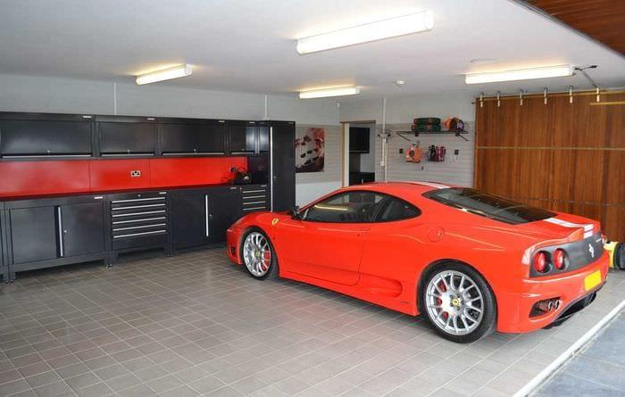 идея необычного интерьера гаража