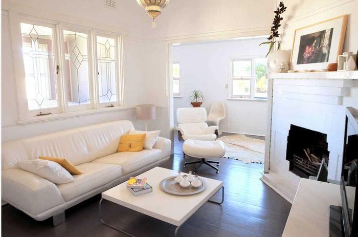 идея красивого дизайна гостиной комнаты 17 кв.метров