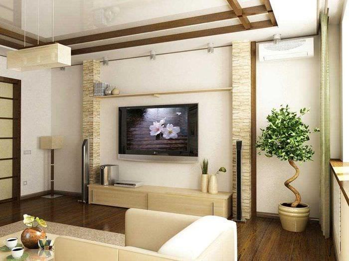 идея красивого интерьера спальни с декоративными балками