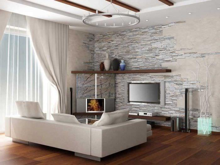 идея необычного декоративного камня в интерьере комнаты