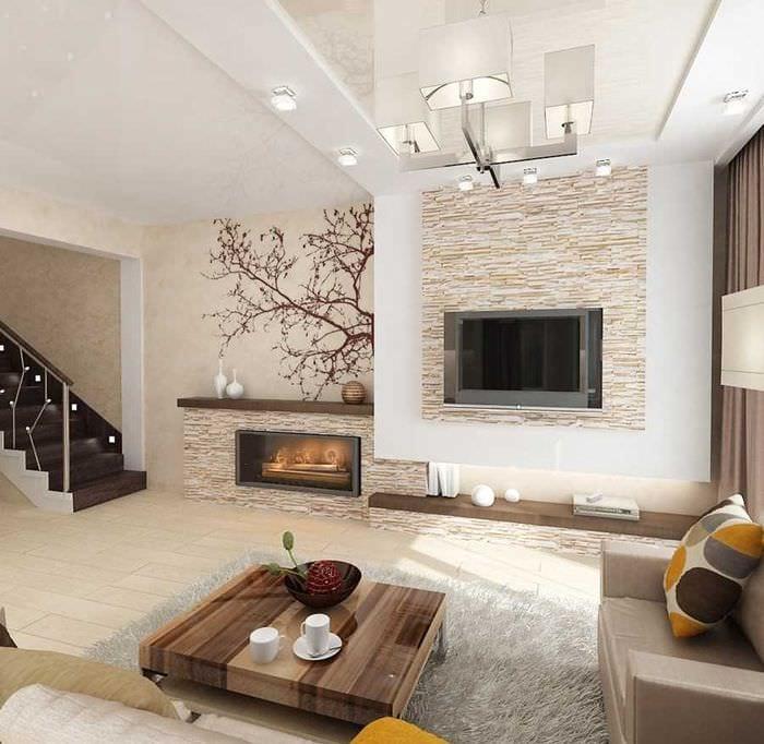 вариант красивого декоративного камня в интерьере комнаты