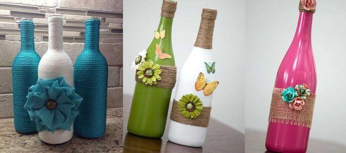 идея стильного декорирования бутылок бисером