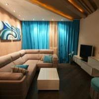 вариант функционального дизайна гостиной комнаты 17 кв.метров картинка