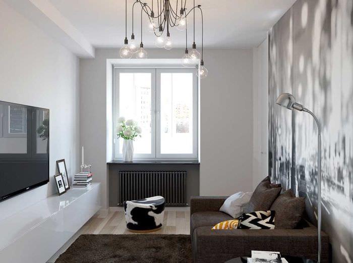 идея функционального стиля гостиной комнаты 17 кв.метров