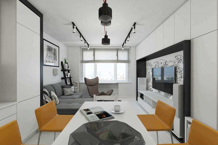 идея необычного интерьера 2 комнатной квартиры