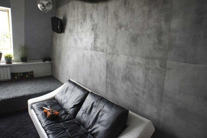 идея необычной декоративной штукатурки в интерьере спальни под бетон