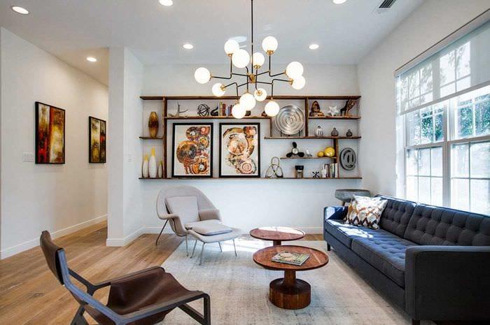 вариант красивого оформления гостиной комнаты 17 кв.метров