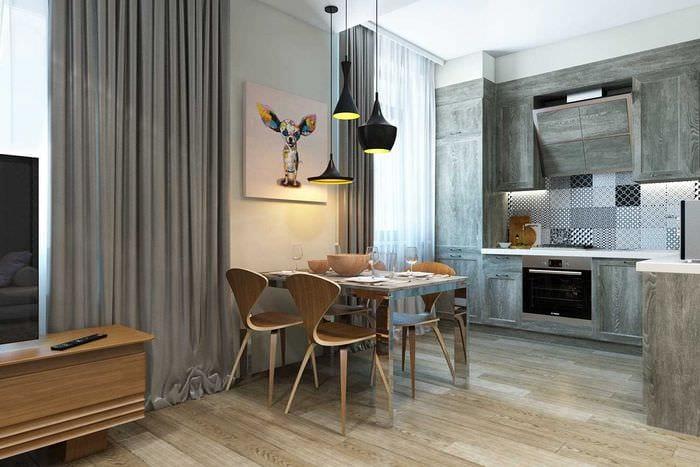 идея оригинального дизайна гостиной 3-х комнатной квартиры