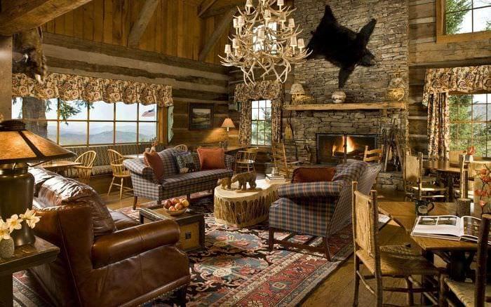 идея оригинального интерьера гостиной в деревенском стиле