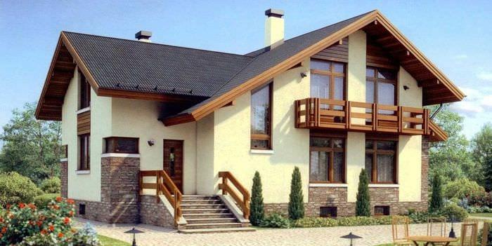 идея оригинального фасада загородного дома