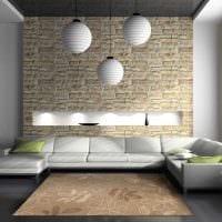 вариант оригинального декоративного камня в интерьере комнаты фото