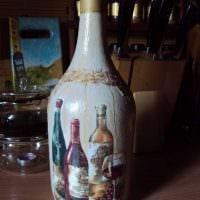 идея красивого декорирования стеклянных бутылок красками картинка