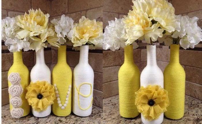 идея оригинального декорирования бутылок солью