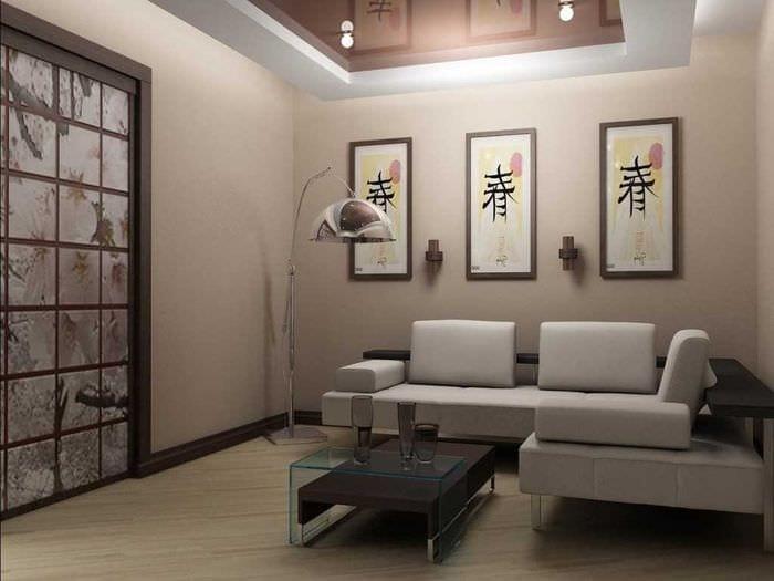 идея яркого стиля гостиной комнаты 17 кв.метров