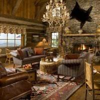 идея оригинального дизайна квартиры в деревенском стиле картинка