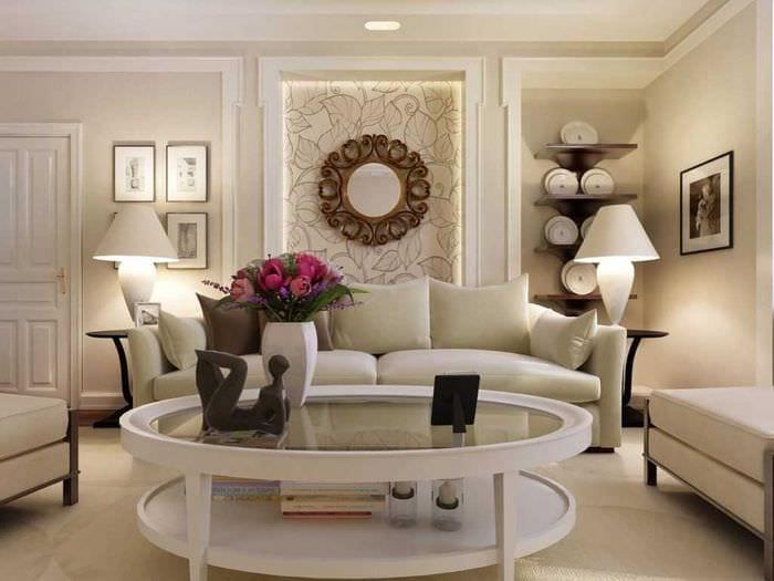 вариант оригинального стиля гостиной комнаты 17 кв.метров