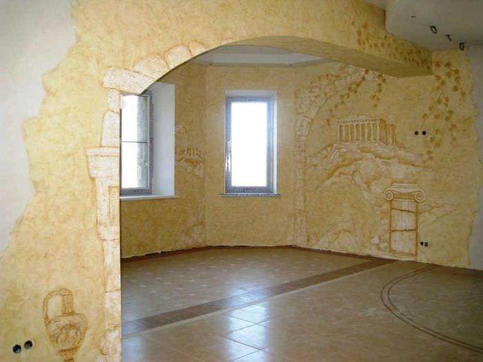 идея оригинального дизайна квартиры с декоративной штукатуркой