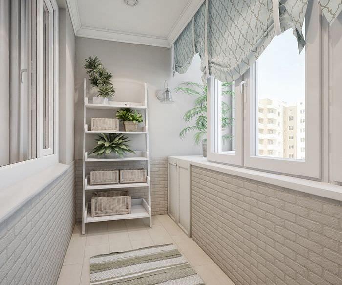 вариант необычного интерьера небольшого балкона