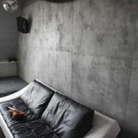 вариант необычной декоративной штукатурки в интерьере спальни под бетон картинка