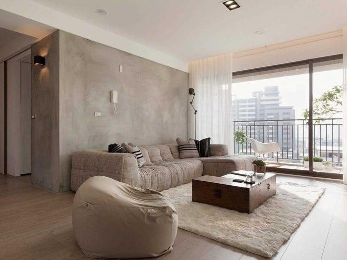 идея яркой декоративной штукатурки в дизайне спальни под бетон