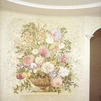 вариант оригинального дизайна квартиры с декоративным рисунком на стене фото