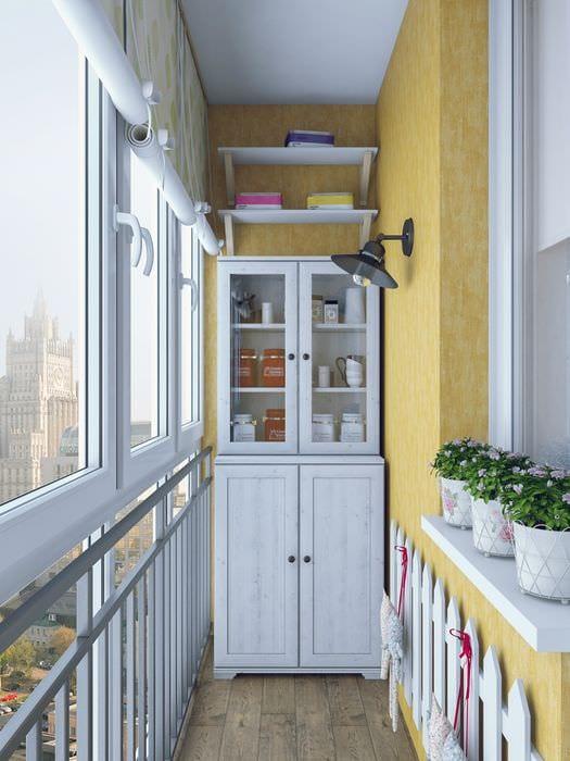 идея оригинального стиля маленького балкона