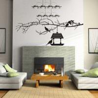 идея оригинального декорирования стен в гостиной картинка