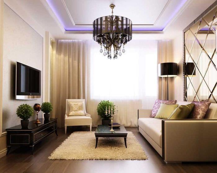 вариант необычного интерьера кухни 3-х комнатной квартиры