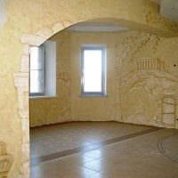 вариант красивого интерьера квартиры с декоративной штукатуркой фото