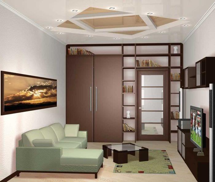вариант современного оформления гостиной комнаты 17 кв.метров