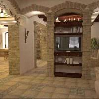 идея современного декора гостиной с аркой фото