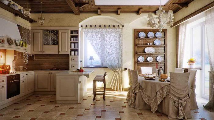 вариант красивого декора комнаты в деревенском стиле