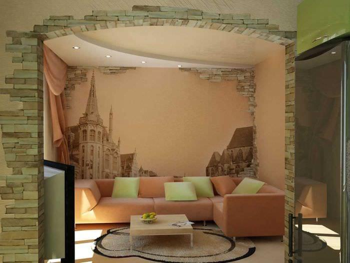 вариант яркого декорирования интерьера гостиной