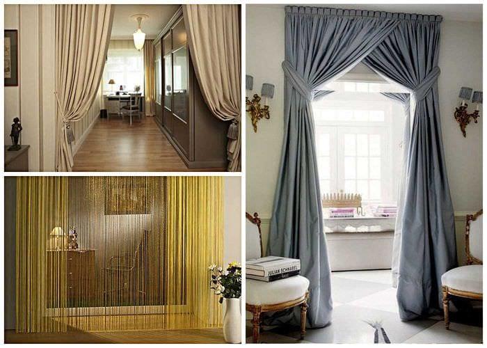 вариант оригинальных декоративных штор в дизайне квартиры