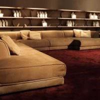 вариант необычного дизайна гостиной с диваном фото