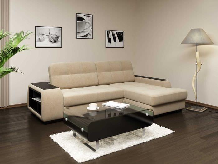 идея красивого интерьера кухни с диваном