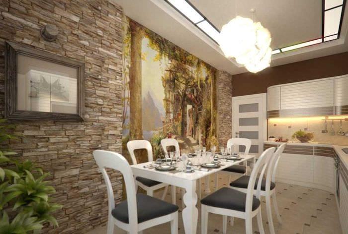 идея яркого декоративного камня в стиле комнаты