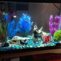 идея яркого декорирования домашнего аквариума фото