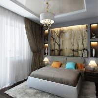 идея необычного декорирования интерьера спальной комнаты картинка
