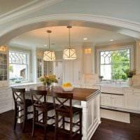 вариант красивого интерьера кухни с аркой фото