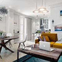 вариант красивого декора гостиной 3-х комнатной квартиры фото