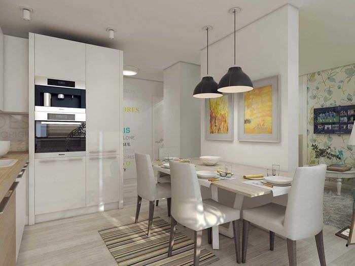 идея красивого дизайна гостиной 3-х комнатной квартиры
