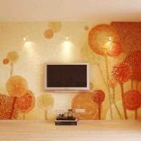 вариант яркого дизайна комнаты с декоративной штукатуркой картинка