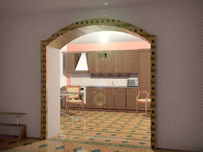 вариант современного декора кухни с аркой