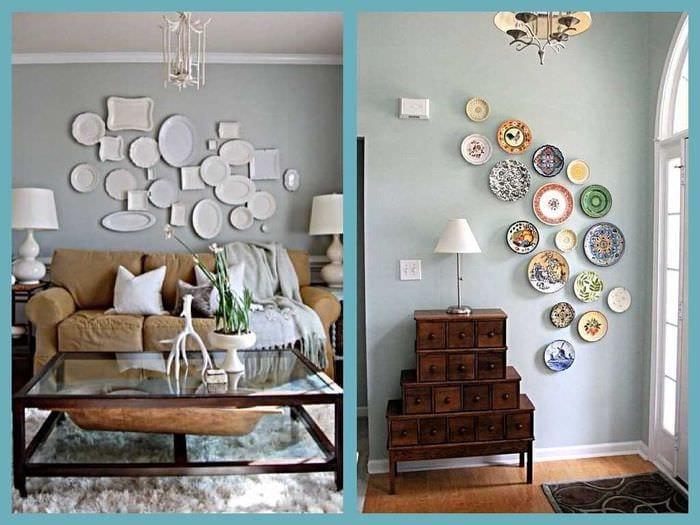 идея яркого дизайна комнаты с декоративными тарелками на стену