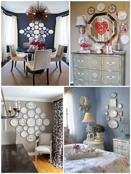 вариант современного стиля гостиной с декоративными тарелками на стену